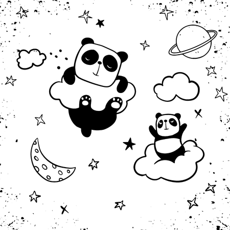 Panda Pattern Background, Happy cute panda flying in the sky between clouds and star, Cartoon Panda Bears Vector illustration for kids