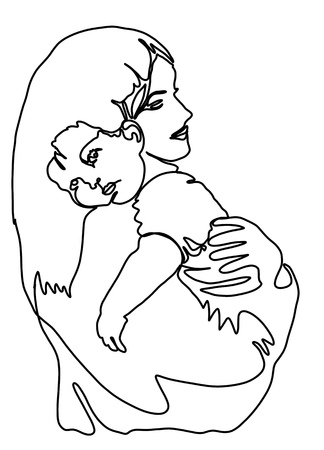 Happy Mother's Day. Abstract mom and baby silhouette. Template for your design. Vector illustration Standard-Bild - 124446444