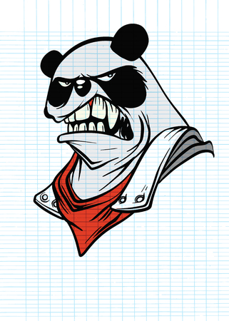 Portrait of Panda with armor suit, Vector illustration of Super Hero character. Monster  character on white background Stock Illustratie