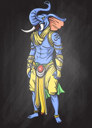 Supereroe, un uomo elefante, illustrazione vettoriale del personaggio del super eroe. Personaggio mostro su sfondo bianco