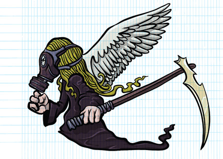 Illustration des Superhelden Das Tragen einer Gasmaske mit Flügeln. ein verrückter Charakter auf weißem Hintergrund