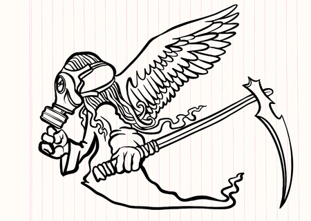 illustration of Super Hero Wearing a gas mask with wings. a crazy character on white background Illustration