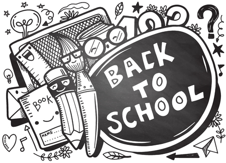 Back to school vector banner design with funny school characters a, education items and space for text in a background. Hand drawn illustration isolated