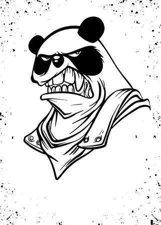 Portrait of Panda with armor suit, Vector illustration of Super Hero character. Monster  character on white background Illustration