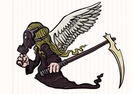 illustration of Super Hero Wearing a gas mask with wings. a crazy character on white background Banque d'images - 124446943