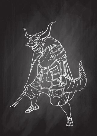 Superhero wearing samurai suit ,  Vector illustration of Super Hero character. Monster  character on white background