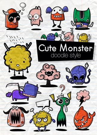 Cartoon Monsters. set of cartoon monsters isolated. Design for print, party decoration, t-shirt, illustration, logo, emblem or sticker Stock Vector - 124447078