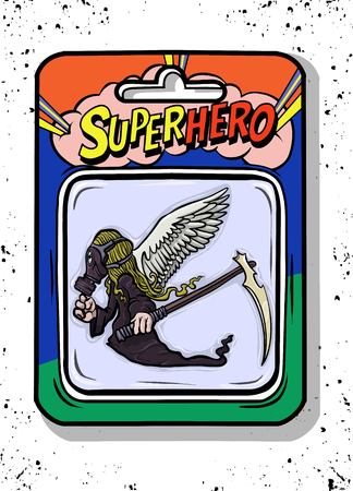 Toy case , Angel of death toys inside, such as  Grim Reaper  with  wings and scythe in hands.Vector illustration
