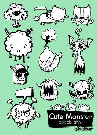 Set of cute monsters in the form of a stickers , Illustration Ilustração