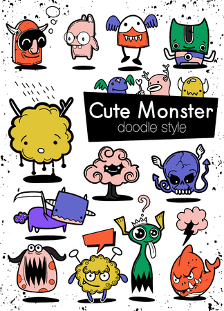 Cartoon Monsters. set of cartoon monsters isolated. Design for print, party decoration, t-shirt, illustration, logo, emblem or sticker Stock Vector - 124447114