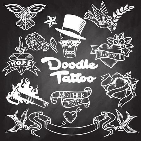 Tatouage de la vieille école, icônes définies avec hirondelle rose coeur Owl couteau Axe crâne ruban symboles isolé illustration vectorielle