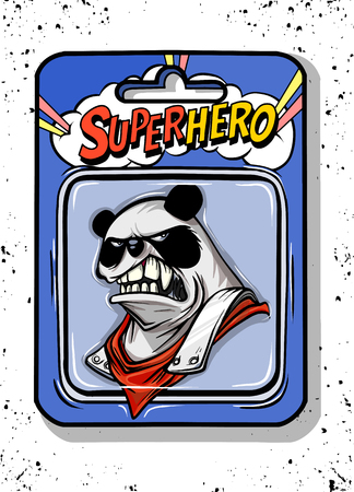 Toy case , Pand toys inside, such as Angry panda wearing armor .Vector illustration