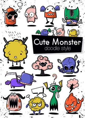 Cartoon Monsters. set of cartoon monsters isolated. Design for print, party decoration, t-shirt, illustration, logo, emblem or sticker Stock Vector - 124447142