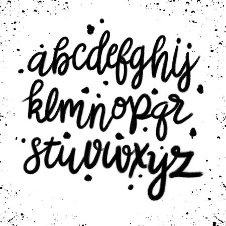Handgezeichnetes Vektoralphabet. Skript-Schriftart. Isolierte Buchstaben mit Marker, Tinte geschrieben. Kalligraphie, Schriftzug. Vektorgrafik