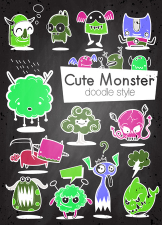Cartoon Monsters. set of cartoon monsters isolated. Design for print, party decoration, t-shirt, illustration, logo, emblem or sticker Stock Vector - 124447145