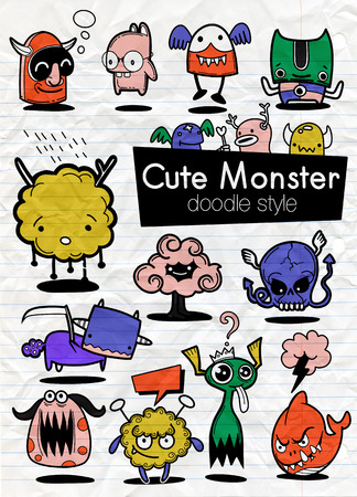 Cartoon Monsters. set of cartoon monsters isolated. Design for print, party decoration, t-shirt, illustration, logo, emblem or sticker Stock Vector - 124447147