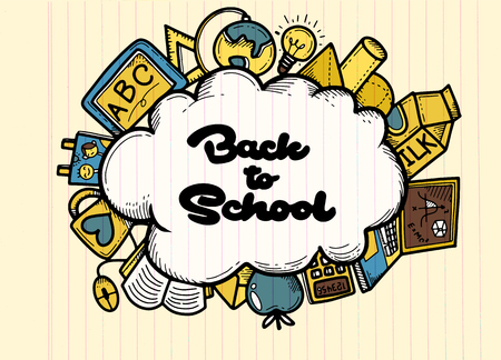 Back to School banner with texture from line art icons of education, art ,objects and office supplies on background