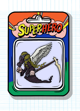 Toy case , Angel of death toys inside, such as  Grim Reaper  with  wings and scythe in hands.Vector illustration Archivio Fotografico - 124447156