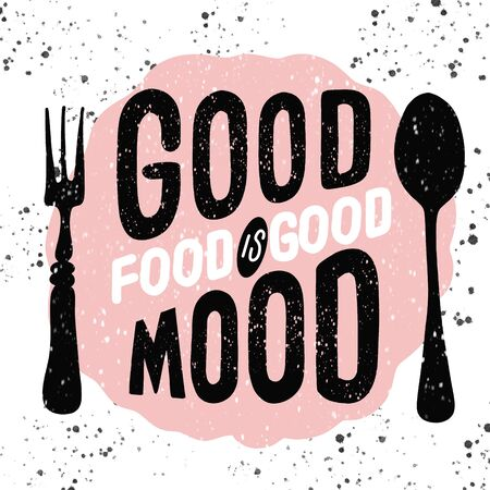 Food related typographic quote. Food old logo design. Foodstuffs background printable. Vintage kitchen print element with fork and spoon on grunge spot background