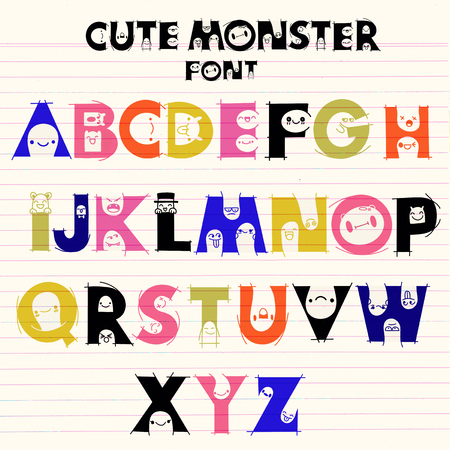 Alphabet with cute and funny monsters