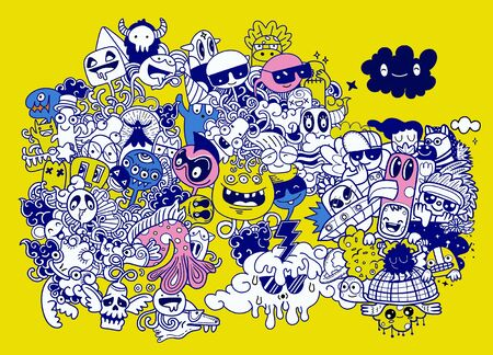 Vector illustration of Doodle cute Monster background ,Hand drawing Doodle Stock Illustratie