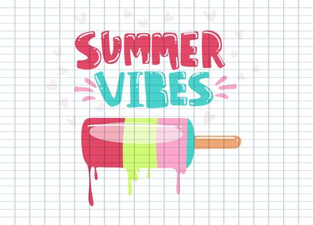 illustration: Handwritten type lettering composition of Summer Vibes with hand drawn ice cream