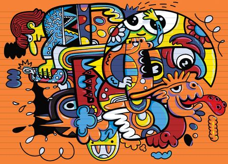 Illustration, Hand Drawn  Illustration of Doodle funny animal, illustrator line tools drawing, Flat Design