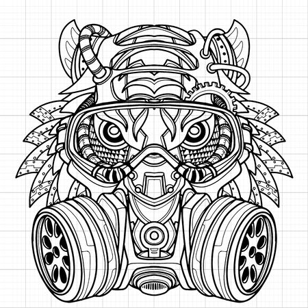 Tiger in gas mask illustration. Toxicity emblem , sign. Can be used as t-shirt print, tattoo design, logo, graffiti. Urban style