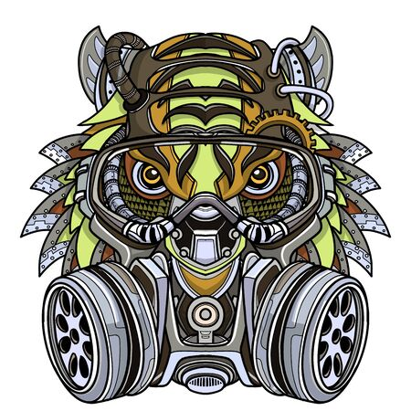 Tiger in gas mask illustration. Toxicity emblem, sign. Can be used as t-shirt print, tattoo design, logo, graffiti. Urban style