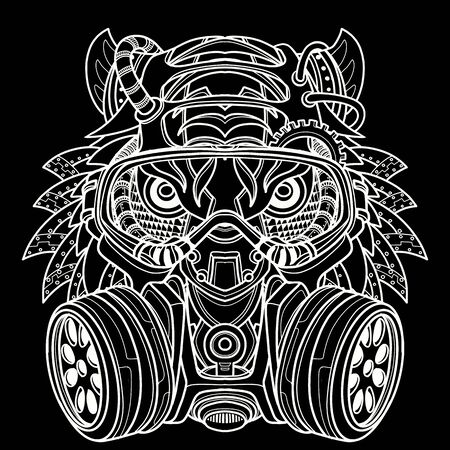 Tiger in gas mask illustration. Toxicity emblem , sign. Can be used as t-shirt print, tattoo design Illustration