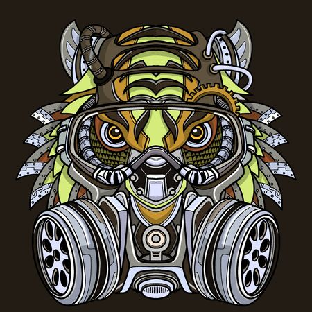 Tiger in gas mask illustration. Toxicity emblem, sign. Can be used as t-shirt print, tattoo design