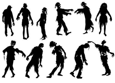 Zombie silhouettes set Illustration