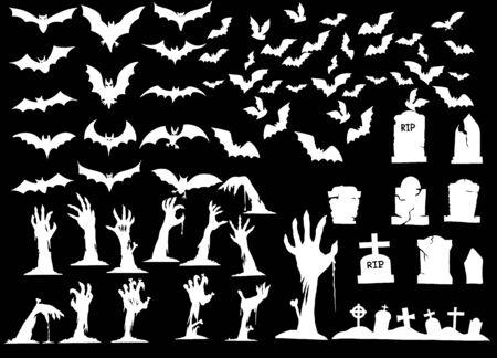 Collection of halloween silhouettes icon ,  elements for halloween decorations, silhouettes, sketch, icon, sticker. Hand drawn vector illustration Standard-Bild - 128201772