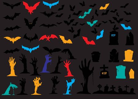 Collection of halloween silhouettes icon ,  elements for halloween decorations, silhouettes, sketch, icon, sticker. Hand drawn vector illustration Standard-Bild - 128201782