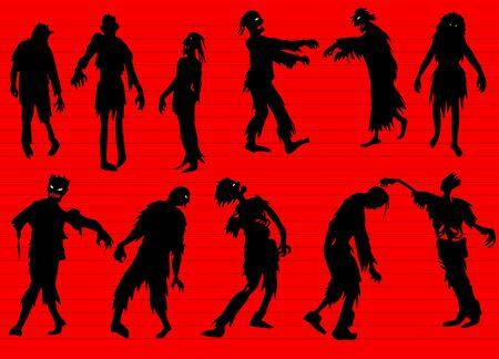 Conjunto de siluetas de zombies