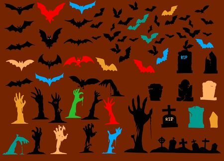 Collection of halloween silhouettes icon ,  elements for halloween decorations, silhouettes, sketch, icon, sticker. Hand drawn vector illustration