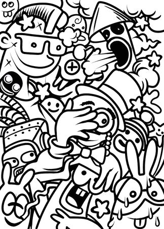 Cartoon colorful hand drawn doodles , poster template. Very detailed, with lots of character , illustration. Funny vector artwork. Corporate identity design