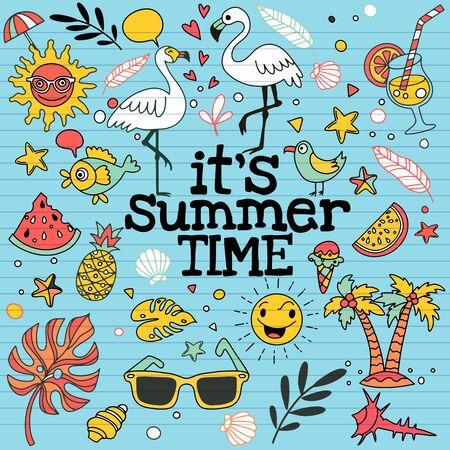 Set di icone estive carine: cibo, bevande, foglie di palma, frutta e fenicottero. Manifesto estivo luminoso. Raccolta di elementi di scrapbooking per feste in spiaggia