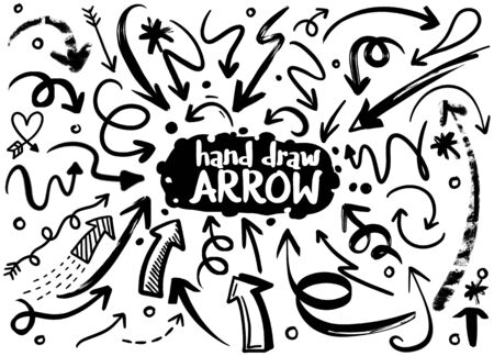 Doodle set of pencil drawing objects. Hand drawn abstract grunge arrows. Vector abstract arrows for design use