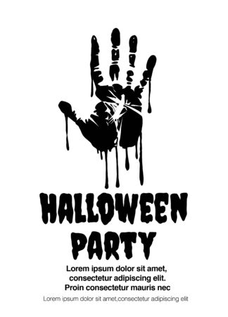 bloody handprint - inscription painted with a brush. Bloody halloween greeting. Vector illustration