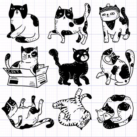 Collection of funny cats action , pet animals hand drawn with contour lines on  background.,vector illustration