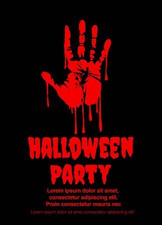 impronta di mano insanguinata - iscrizione dipinta con un pennello. Saluto di Halloween sanguinante. Illustrazione vettoriale