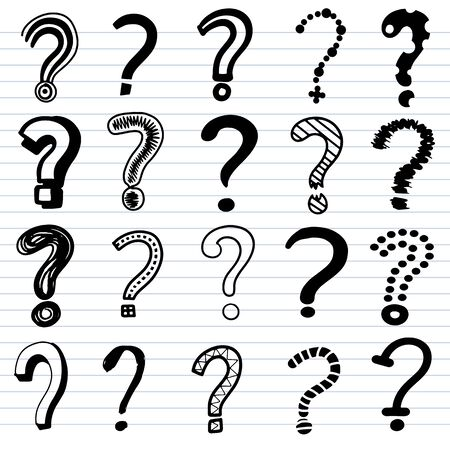 Set of doodle drawings of question marks. Collection of interrogation points hand drawn with contour lines on background. vector illustration 向量圖像