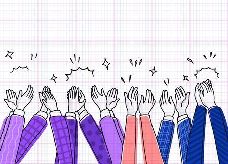Dibujar aplausos, manos humanas aplaudiendo ovación. estilo doodle, ilustración vectorial Ilustración de vector