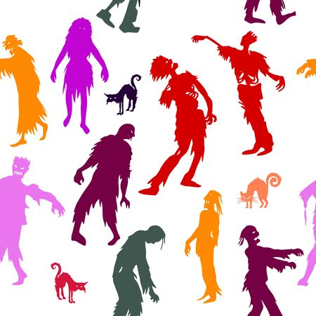Seamless pattern with  Zombie silhouettes. vector background  for printing, website, fabric, poster, cards Illustration