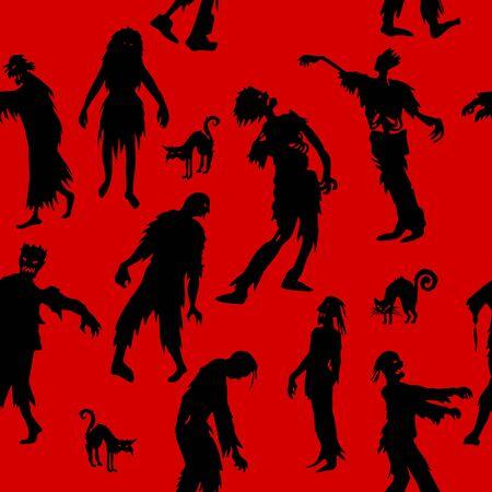 Patrones sin fisuras con siluetas de Zombie. vector de fondo para impresión, sitio web, tela, cartel, tarjetas