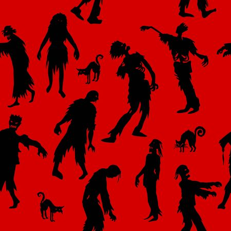 Seamless pattern with  Zombie silhouettes. vector background  for printing, website, fabric, poster, cards Ilustrace