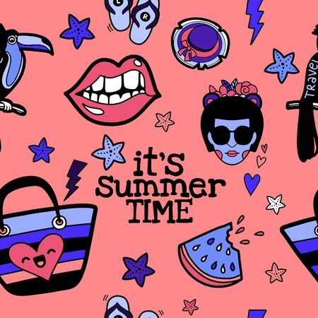 Seamless cute pattern with  Hand drawn doodle summer set icons, Vector illustration Sketchy summer holiday elements, Summertime traveling background