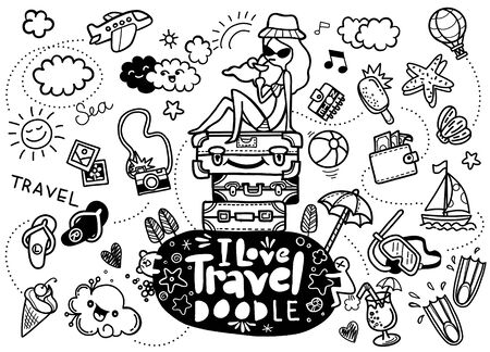 Set of hand drawn travel doodle. Vector illustration. Tourism and summer sketch with travelling elements, slipper, bikini, sunglasses, camera, cocktail, ticket