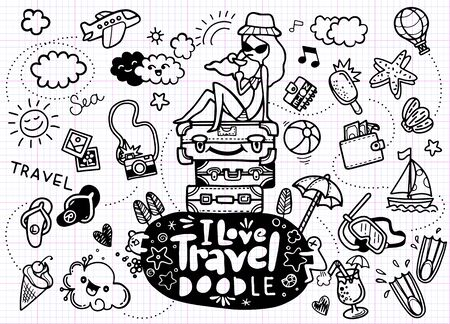 Set of hand drawn travel doodle. Vector illustration. Tourism and summer sketch with travelling elements: slipper, bikini, sunglasses, camera, cocktail, ticket Banque d'images - 129691295